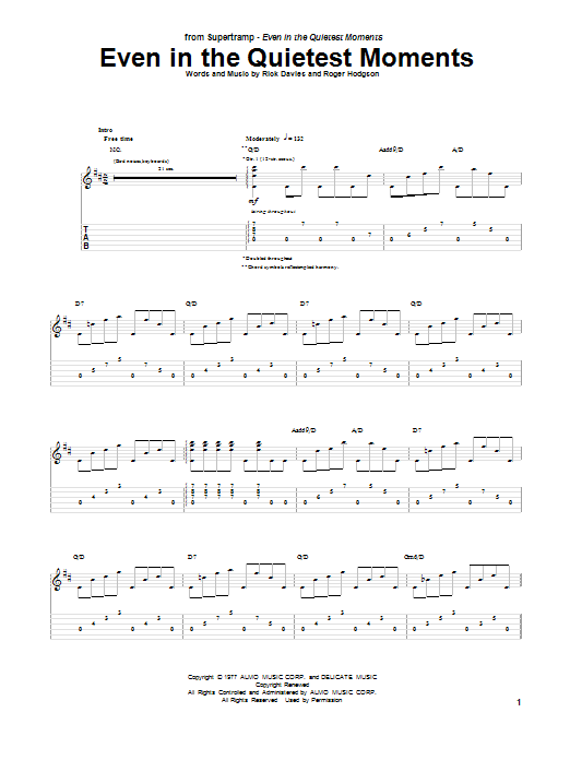 Even In The Quietest Moments (Guitar Tab)
