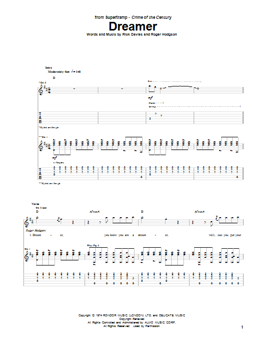 Tablature guitare Dreamer de Supertramp - Tablature Guitare