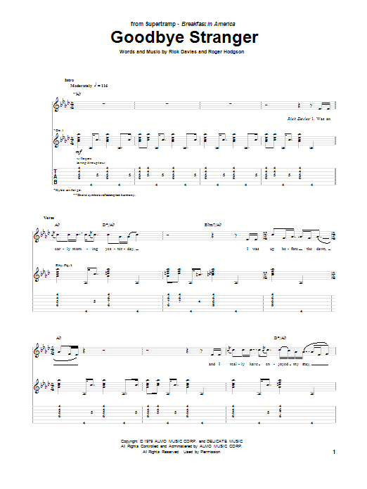 Tablature guitare Goodbye Stranger de Supertramp - Tablature Guitare