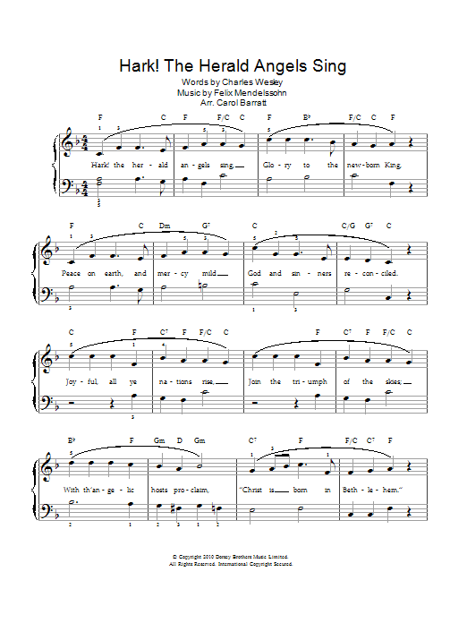 Hark The Herald Angels Sing Sheet Music Christmas Carol Piano