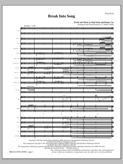 Break Into Song (complete set of parts) sheet music for orchestra/band (Orchestra) by J. Daniel Smith, Randy Cox and Regi Stone. Score Image Preview.
