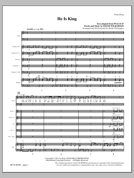 He Is King (complete set of parts) sheet music for orchestra/band (chamber ensemble) by Keith Wilkerson. Score Image Preview.