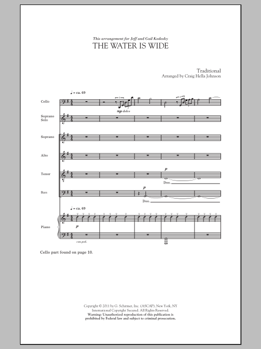 Partition chorale The Water Is Wide de Craig Hella Johnson - SATB