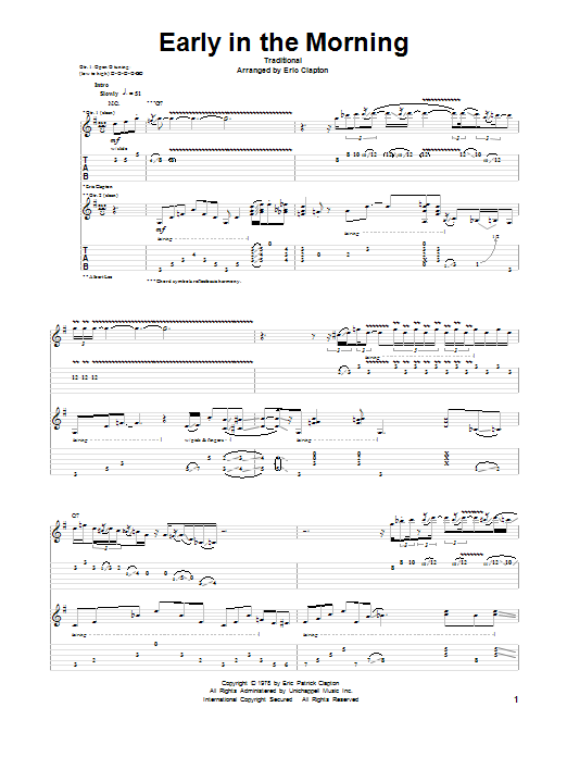Tablature guitare Early In The Morning de Eric Clapton - Tablature Guitare