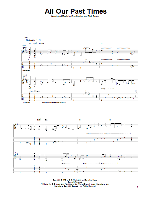 Tablature guitare All Our Past Times de Eric Clapton - Tablature Guitare