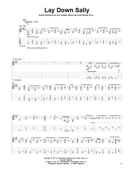 Lay Down Sally Guitar Tab by Eric Clapton (Guitar Tab u2013 87146)
