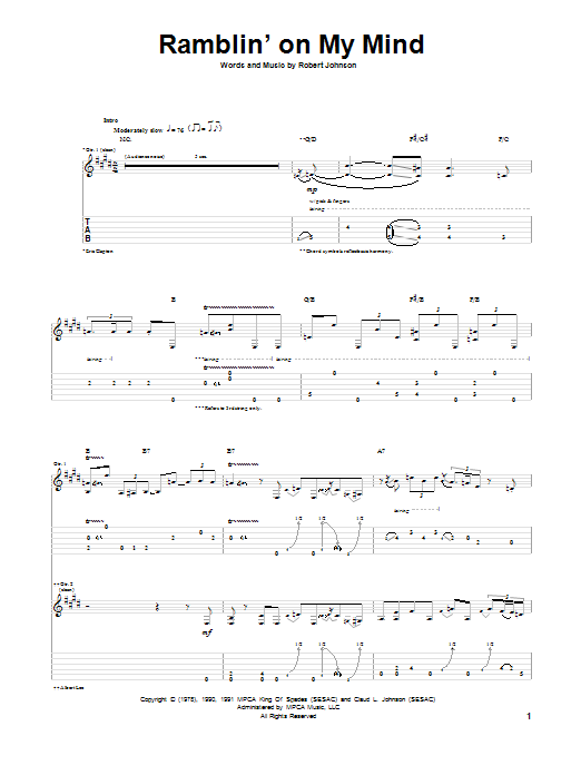 Ramblin' On My Mind Sheet Music