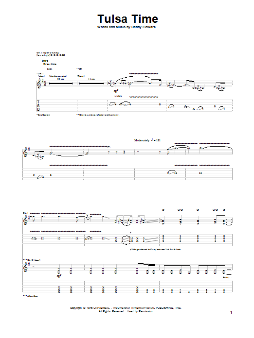 Tablature guitare Tulsa Time de Eric Clapton - Tablature Guitare