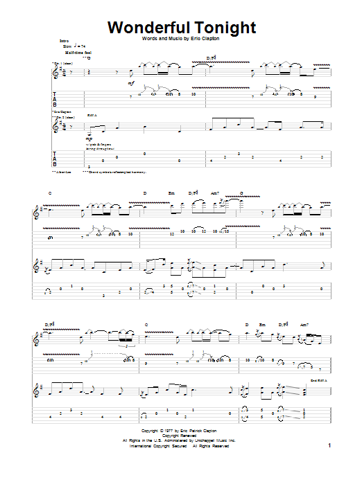 Tablature guitare Wonderful Tonight de Eric Clapton - Tablature Guitare