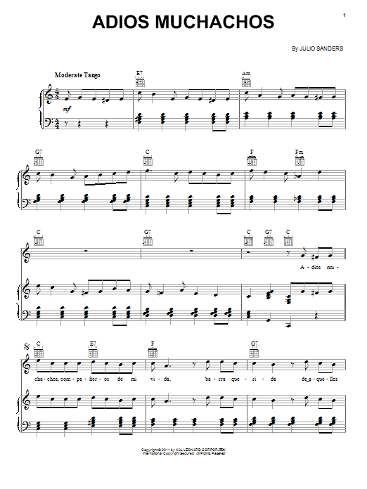 Adios Muchachos (Farewell Boys) Sheet Music