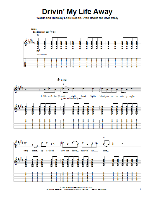 Drivin' My Life Away (Guitar Tab (Single Guitar))