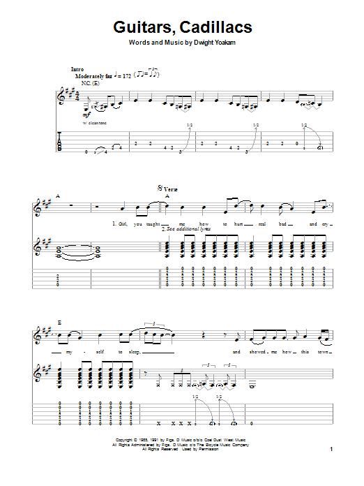Guitars, Cadillacs (Guitar Tab (Single Guitar))