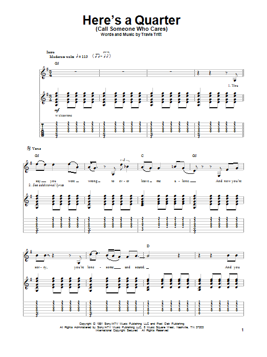 Tablature guitare Here's A Quarter (Call Someone Who Cares) de Travis Tritt - Playback Guitare