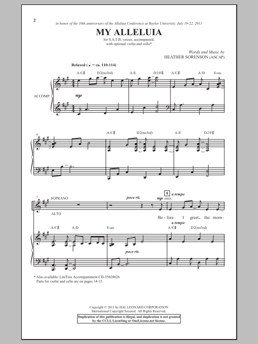 Partition chorale My Alleluia de Heather Sorenson - SATB