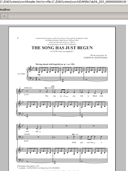 Partition chorale The Song Has Just Begun de Joseph Martin - SATB