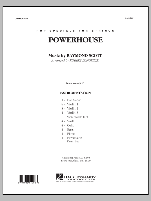 Powerhouse (COMPLETE) sheet music for orchestra by Raymond Scott and Robert Longfield. Score Image Preview.