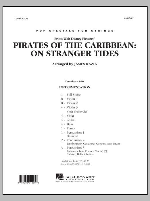 Pirates Of The Caribbean: On Stranger Tides (COMPLETE) sheet music for orchestra by James Kazik. Score Image Preview.