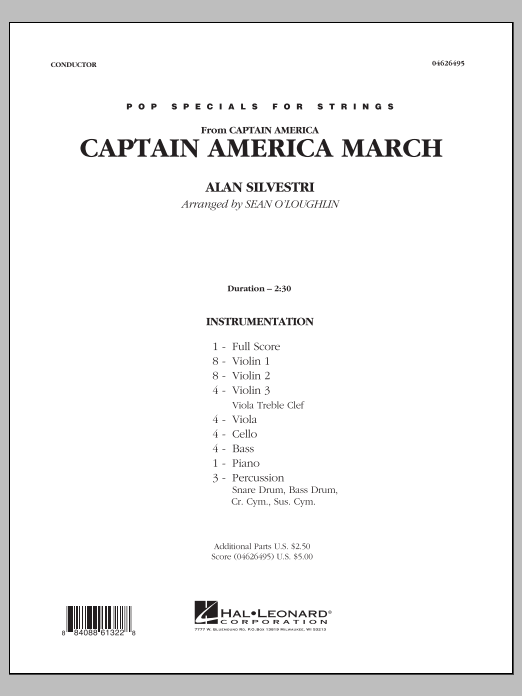 Captain America March (COMPLETE) sheet music for orchestra by Sean O'Loughlin and Alan Silvestri. Score Image Preview.