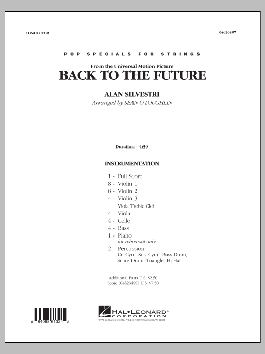Back To The Future (COMPLETE) sheet music for orchestra by Sean O'Loughlin and Alan Silvestri. Score Image Preview.