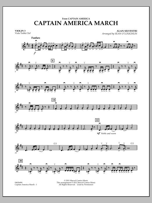 Captain America March - Violin 3 (Viola Treble Clef) (Orchestra)
