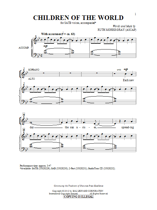 Children Of The World Sheet Music