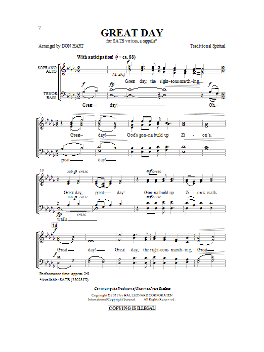 Partition chorale Great Day de Traditional Spiritual - SATB