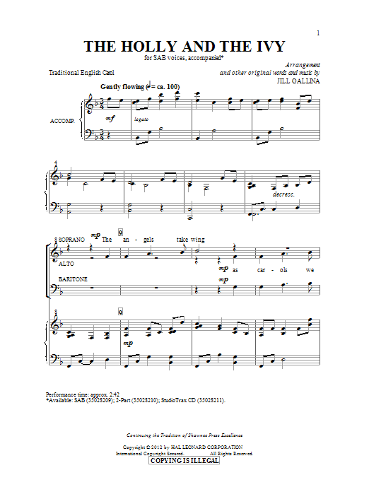 The Holly And The Ivy (arr. Jill Gallina) (SAB Choir)