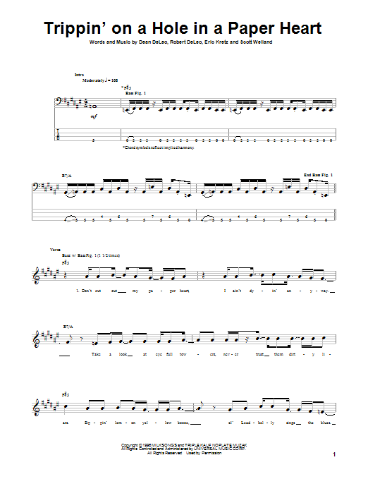Tablature guitare Trippin' On A Hole In A Paper Heart de Stone Temple Pilots - Tablature Basse