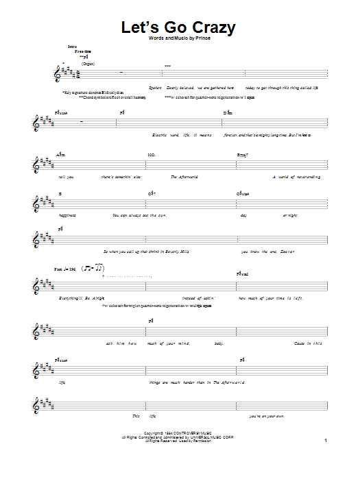 Tablature guitare Let's Go Crazy de Prince - Tablature Basse