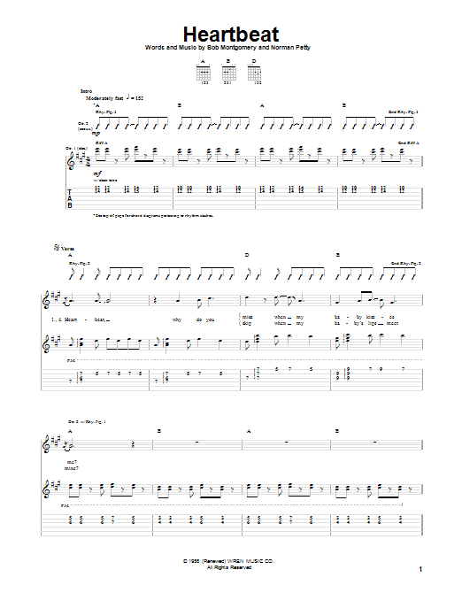 Tablature guitare Heartbeat de Buddy Holly - Tablature Guitare