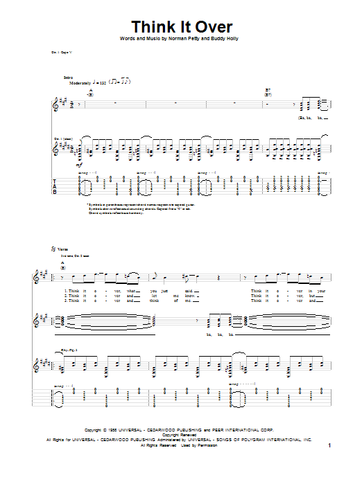 Tablature guitare Think It Over de Buddy Holly - Tablature Guitare
