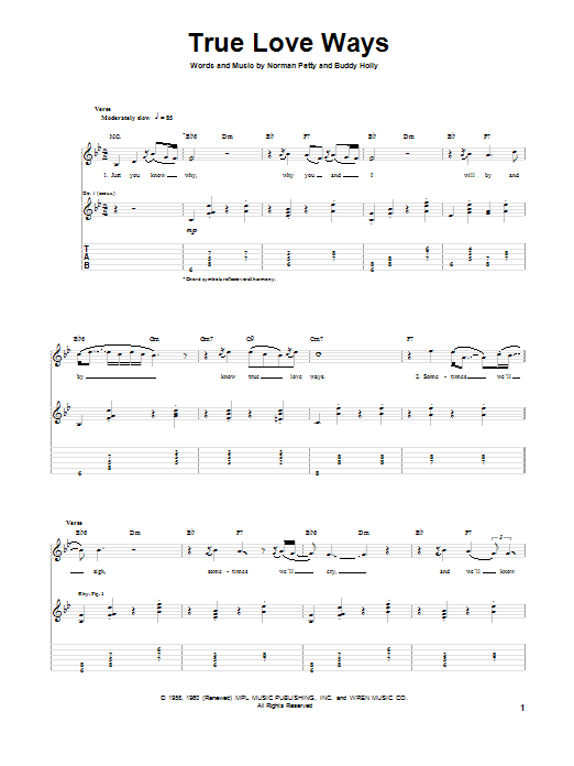 True Love Ways (Guitar Tab)