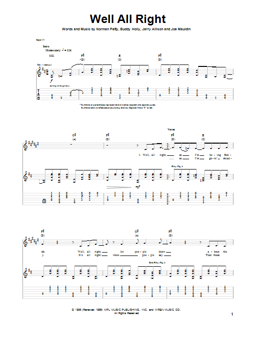 Well All Right (Guitar Tab)