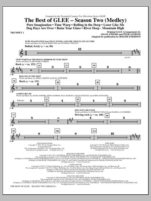 The Best Of Glee (Season Two Medley) - Bb Trumpet 1 (Choir Instrumental Pak)