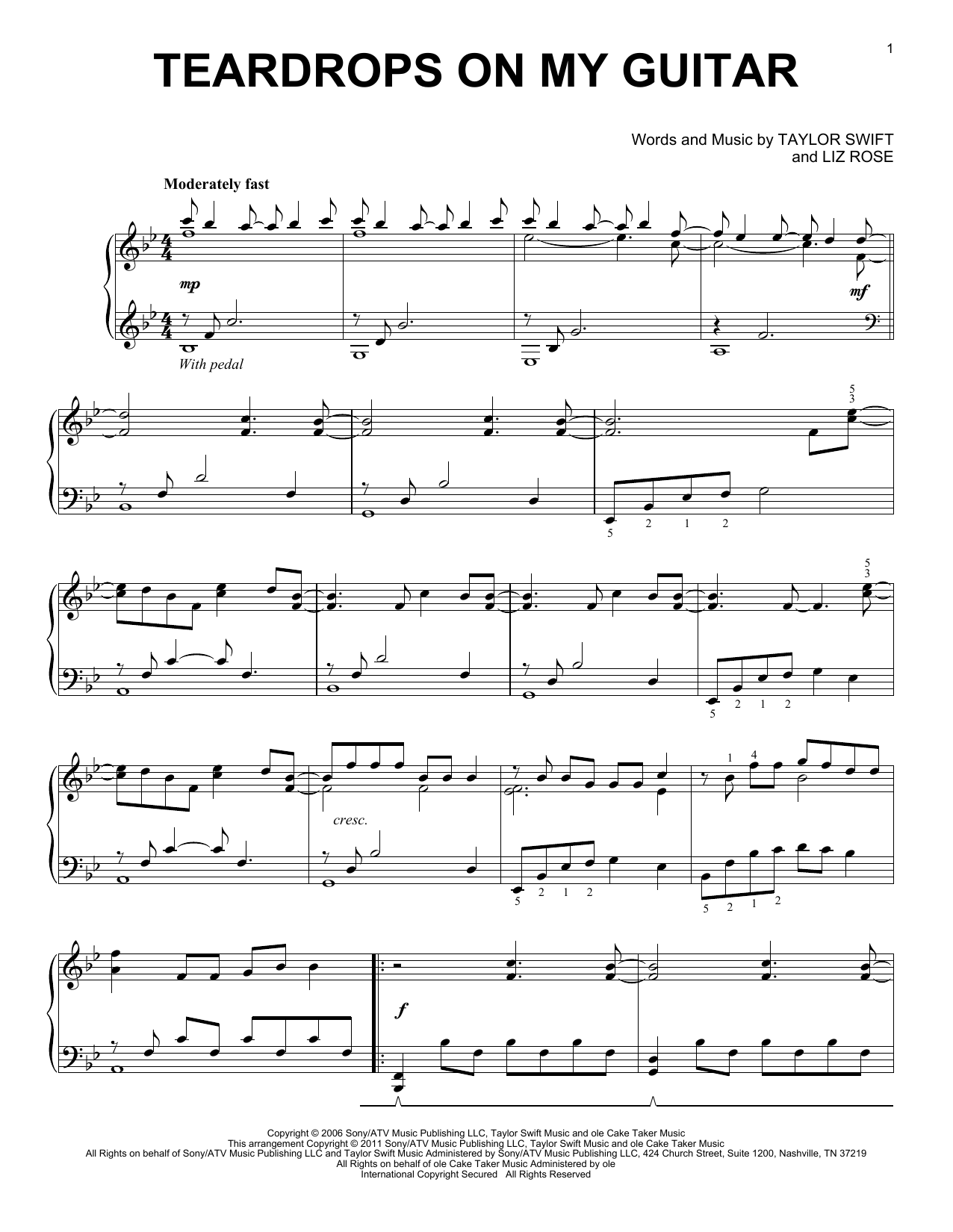 Partition piano Teardrops On My Guitar de Taylor Swift - Piano Solo