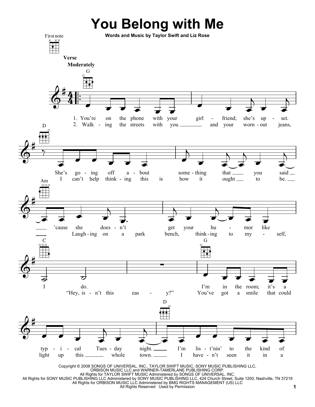 Tablature guitare You Belong With Me de Taylor Swift - Ukulele