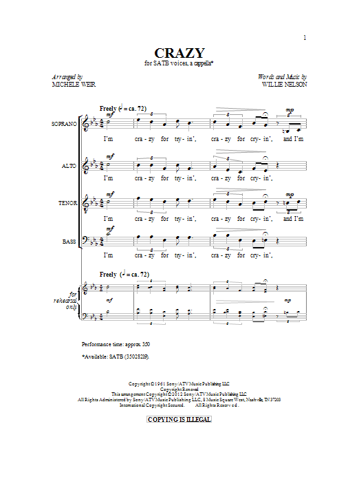 Partition chorale Crazy de Patsy Cline - SATB
