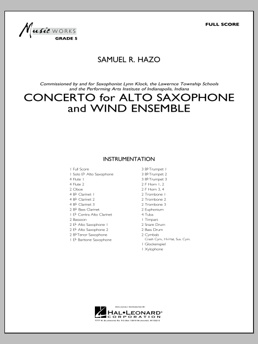 Concerto For Alto Saxophone And Wind Ensemble (COMPLETE) sheet music for concert band by Samuel R. Hazo. Score Image Preview.