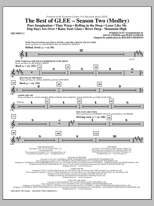 The Best Of Glee (Season Two Medley) - Bb Trumpet 2 (Choir Instrumental Pak)
