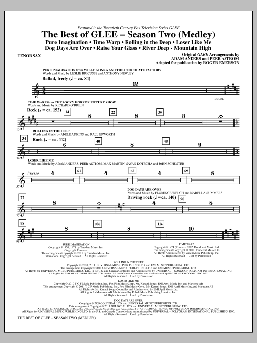The Best Of Glee (Season Two Medley) - Bb Tenor Saxophone (Choir Instrumental Pak)