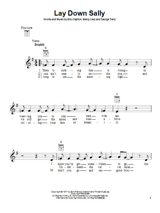 Tablature guitare Lay Down Sally de Eric Clapton - Ukulele