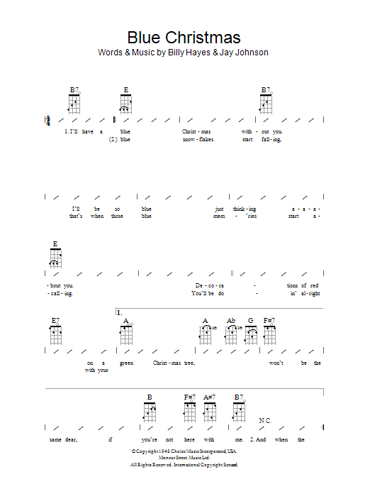 blue christmas sheet music - Blue Christmas Guitar Chords