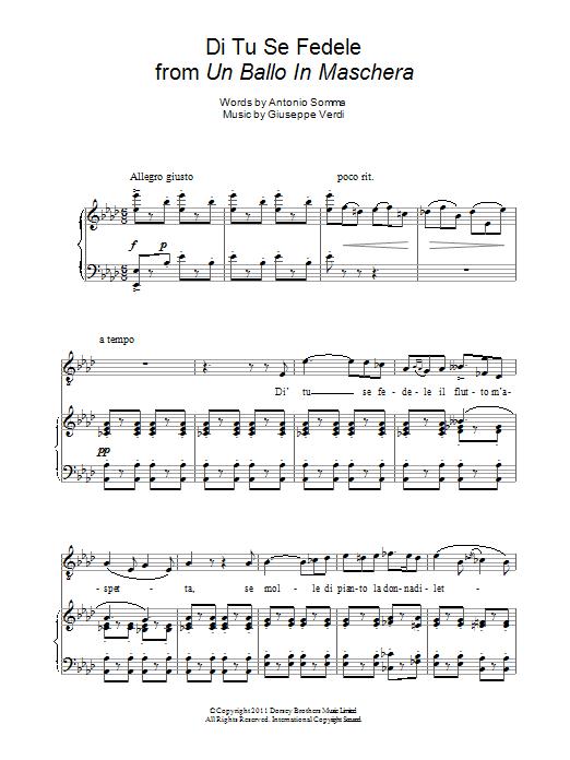 Di Tu Se Fedele (from Un Ballo In Maschera) Sheet Music