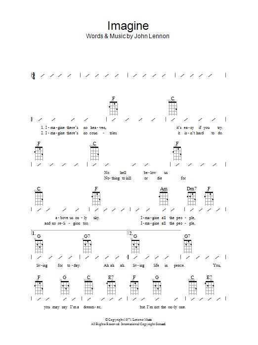 Imagine Sheet Music John Lennon Ukulele Chords Lyrics