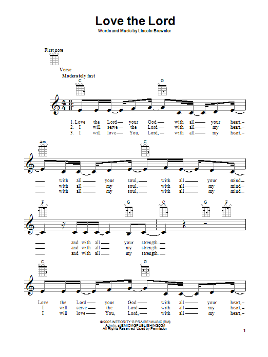 Lincoln Brewster Love The Lord Sheet Music