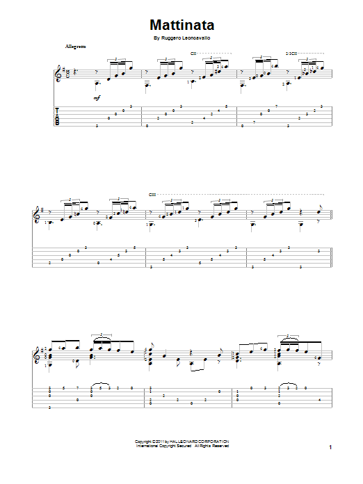 Tablature guitare Mattinata de Ruggero Leoncavallo - Tablature Guitare