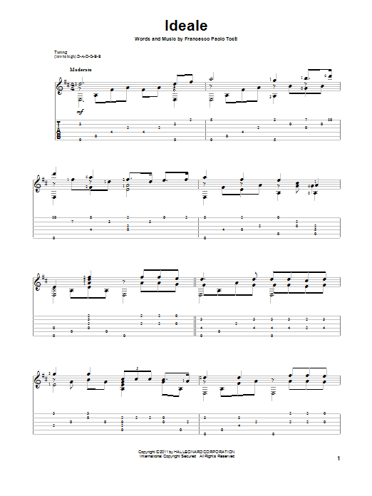 Tablature guitare Ideale de Francesco Paolo Tosti - Tablature Guitare