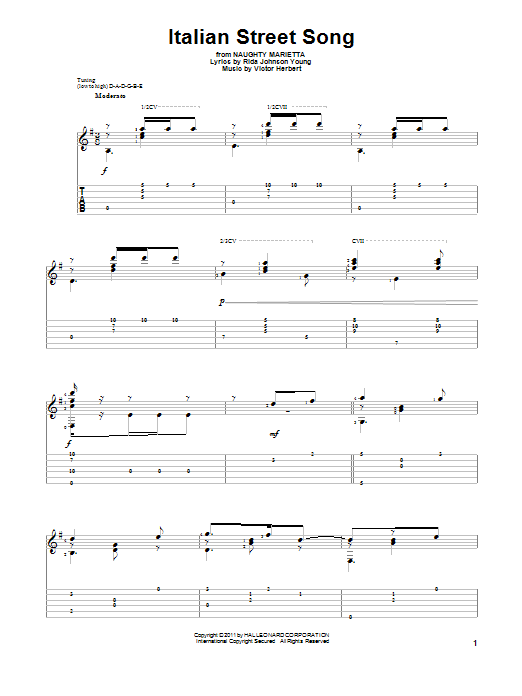 Italian Street Song Sheet Music