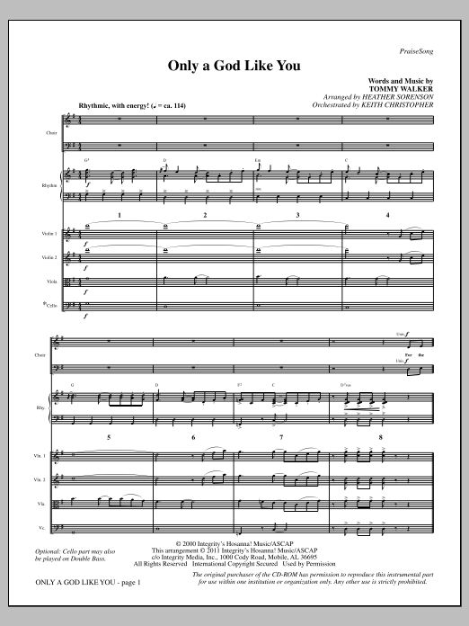Only A God Like You - Full Score Sheet Music