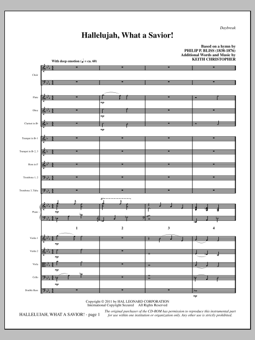 Hallelujah, What A Savior! (complete set of parts) sheet music for orchestra/band (Orchestra) by Keith Christopher and Philip P. Bliss. Score Image Preview.